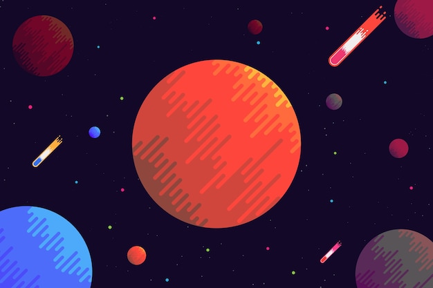 Planet space background flat design.vector and illustration