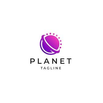 Planet space logo icon design template flat vector