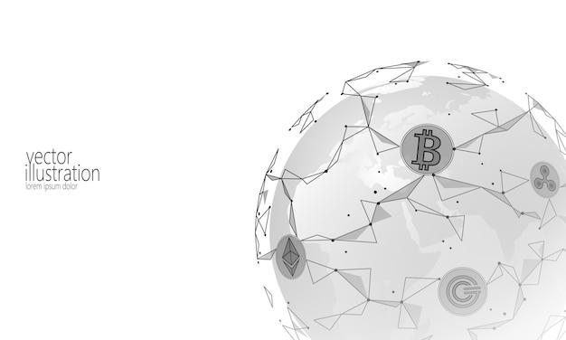 世界的な国際的なブロックチェーン暗号通貨、planet space low poly modern