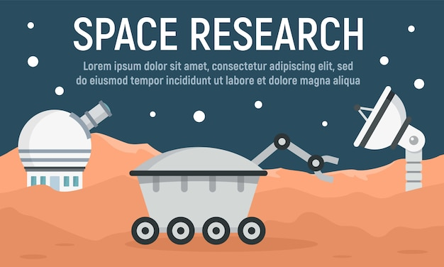 Planet space research banner, flat style