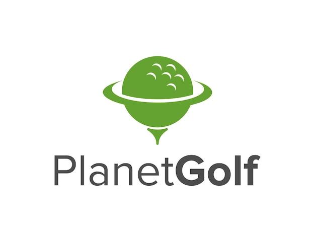 골프 공이있는 행성 공간 단순하고 세련된 창조적 인 기하학적 현대 로고 디자인