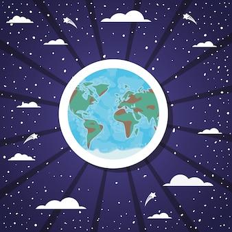 Planet sticker over sunburst design vector illustration