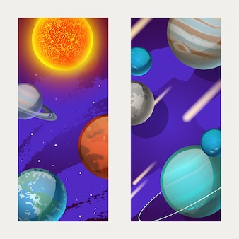 Planet system, planetary motion around sun  illustration. mercury, venus, earth and mars in outer space galaxy, postcard