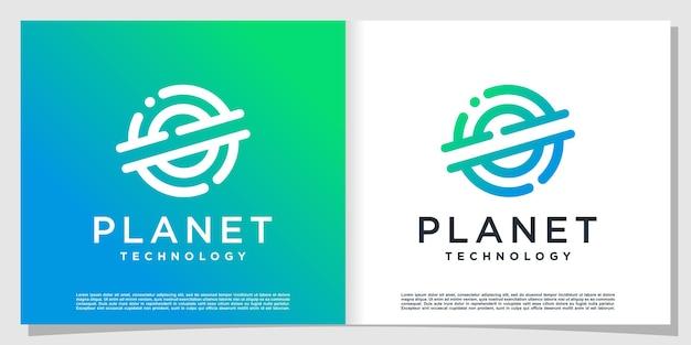 현대 크리에이 티브 스타일의 행성 기술 로고 premium vector