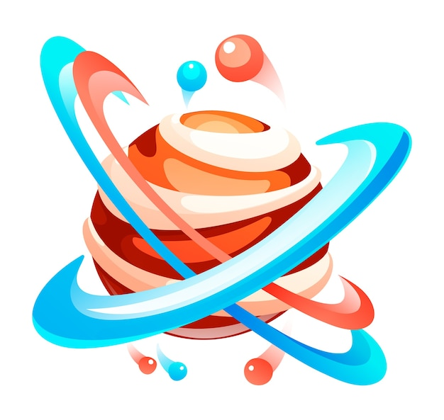 Planet with circles of orbit. cute unknown planet element