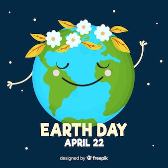 Planet with flower crown mother earth day background