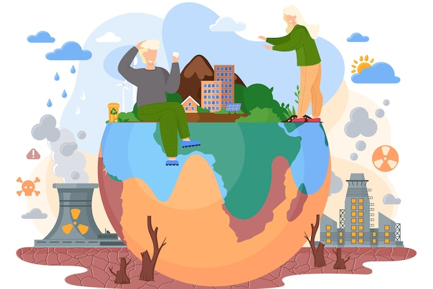 Planet with green trees and bushes surrounded by a lifeless land with cracks, environmental pollution theme with stumps of cut trees to build cities, factories pollute the air with smoke flat vector