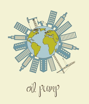 Planet with oil pump and buildigns catoons vector