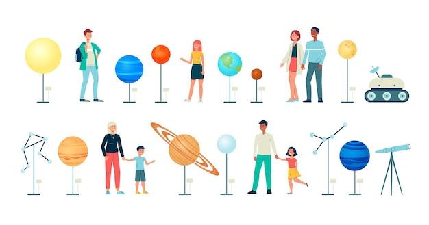 Planetarium astronomy icons of people and exhibits illustration