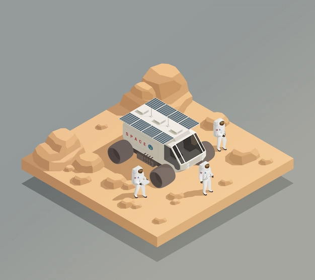 Planetary rover astronauts isometric composition