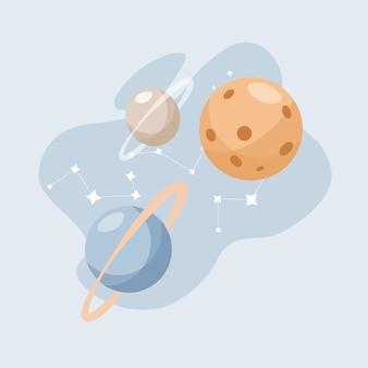 Планеты и созвездия в космическом пространстве вектор плоской иллюстрации изолированы