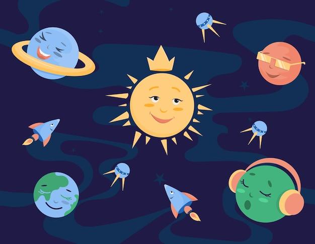 さまざまな感情を持つ宇宙の惑星とロケット。漫画風にかわいい。ベクトルイラスト。