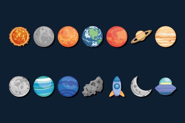 Коллекция планет и космических элементов