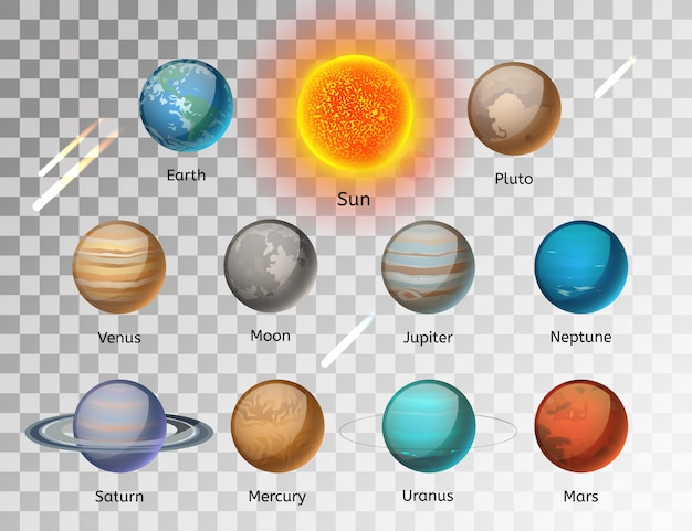 Planets colorful vector set