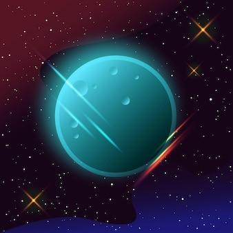 宇宙空間の惑星デザインカード学会の招待状のための抽象的な架空の惑星