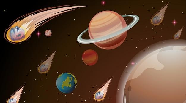 우주 장면 또는 배경에서 행성