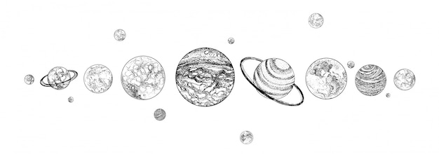 Planets lined up in row. solar system drawn in monochrome colors. gravitationally bound celestial bodies in outer space. natural cosmic objects arranged in horizontal line. illustration.
