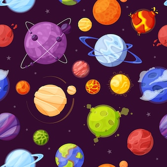 Planets in outer space cartoon flat seamless pattern