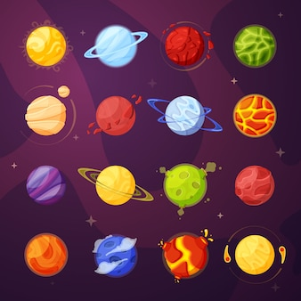 Planets in outer space cartoon illustrations set