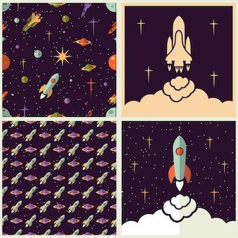 さまざまなスタイルで設定された惑星、ロケット、星の背景