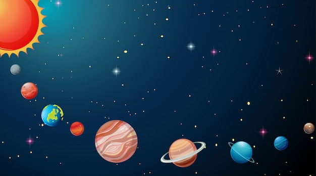 Planets in solar system background