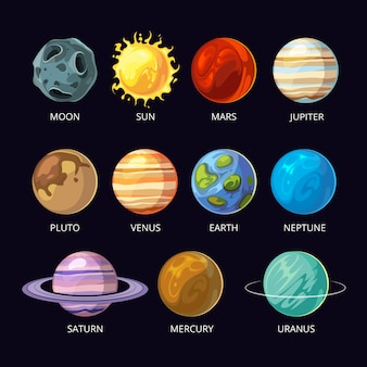 Planets of solar system cartoon set on dark sky space background.