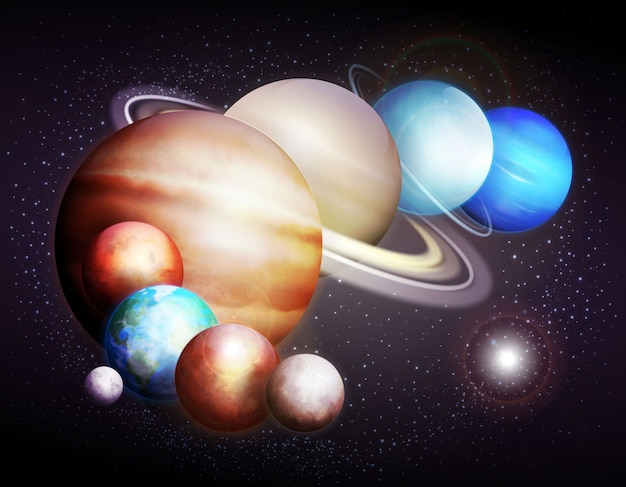 Planets of the solar system. illustration