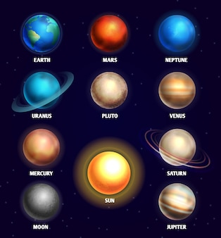 Planets of solar system and sun education