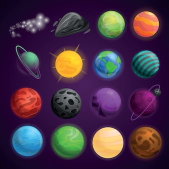 Planets space icon set
