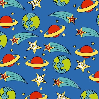 Planets and stars on blue