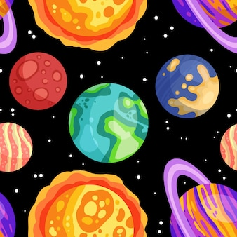 Planets, stars and satellites on a starry sky space seamless pattern