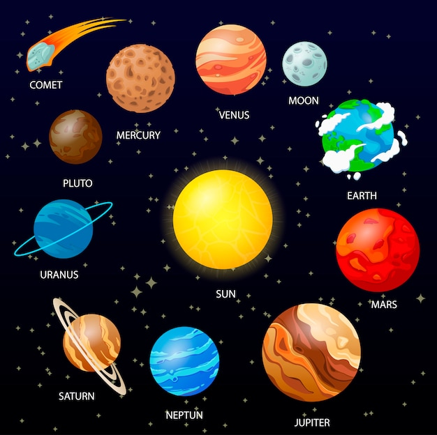 Planets with space background