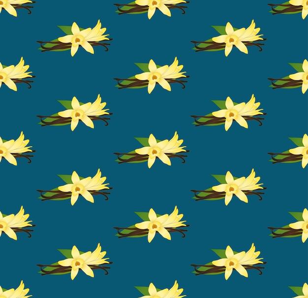 Желтый ванильный цветок planifolia на голубом фоне индиго