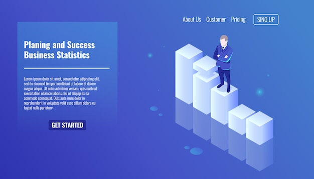 Planing and success concept, business statistics, business man stay on growth graphics