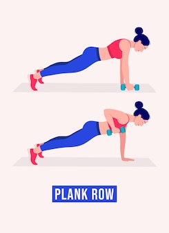 Plank row exercise woman workout fitness aerobic and exercises