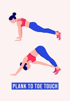 Plank to toe touch exercise woman workout fitness aerobic and exercises