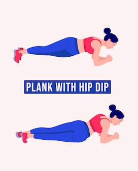 Plank with hip dip exercise woman workout fitness aerobic and exercises