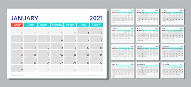 プランナー2021年。カレンダーテンプレート。週は日曜日に始まります。テーブルスケジュールグリッドカレンダーレイアウト