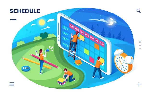 Экран приложения-планировщика или целевая страница расписания, приложение-календарь или диспетчер времени, напоминание или планировщик событий, органайзер или управление сроками, бизнес-план или контрольный список.