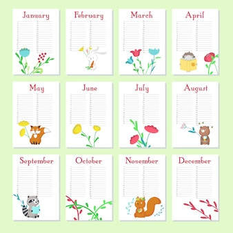 Planner calendar vector template with cute animals