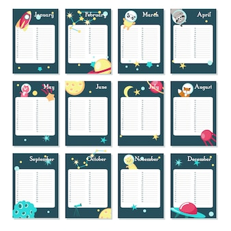 Planner calendar vector template with space animals