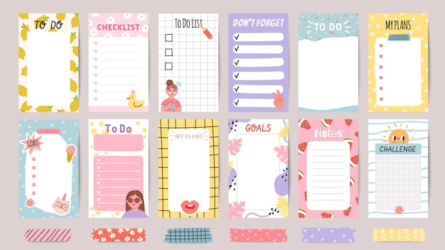 Planner list notes. weekly to do lists and daily schedule with stickers and cute patterns. checklist for goals and plans template vector set. challenge and do not forget papers for print