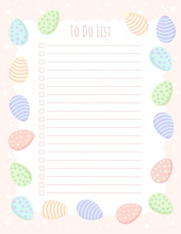 Planner to do list template with easter eggs in pastel colors.
