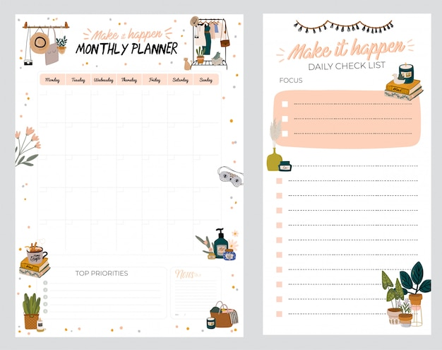 Planner, note paper, to do list, decorated with home interior decor illustrations and inspirational quote. school scheduler and organizer.