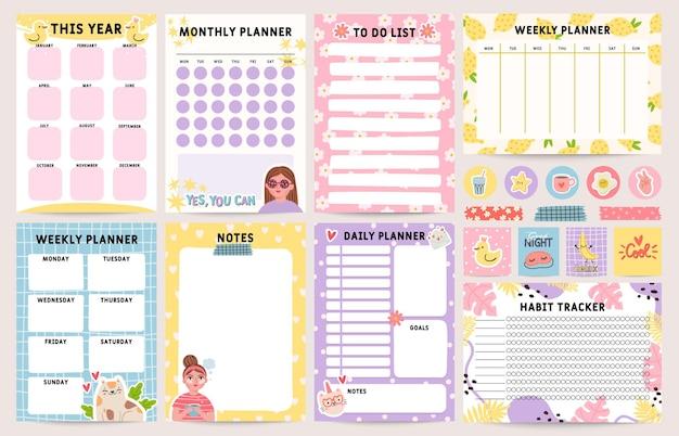 플래너 수첩. 일일, 월간 및 주간 계획 템플릿으로 장식되어 있습니다. 할 일 목록, 일정 및 습관 추적기. 주최자 참고 페이지 벡터 집합입니다. 자기 관리를 위한 다채로운 일상 시간표