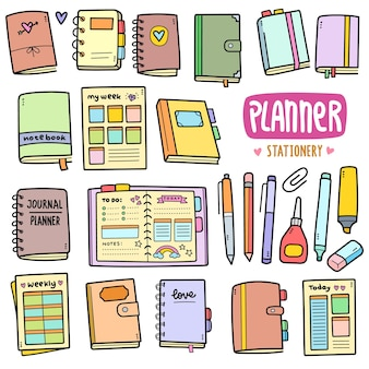 Planner and stationery colorful vector graphics elements and doodle illustrations