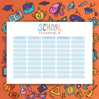 Planner template with hand-drawn school supplies. form, organizer, to-do list
