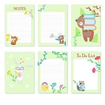 Planner vector template with cute wild animals