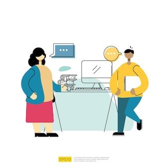 계획 및 커뮤니케이션 토론 팀 작업자 개념입니다. 사람들 캐릭터와 이야기하고 협상합니다. 평면 스타일 벡터 일러스트 레이 션
