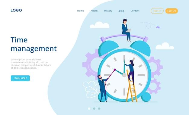 Концепция планирования и совместной работы. целевая страница веб-сайта. мужские и женские персонажи, пытаясь повернуть время вспять на большой будильник. время - деньги и управление. веб-страница в плоском стиле.